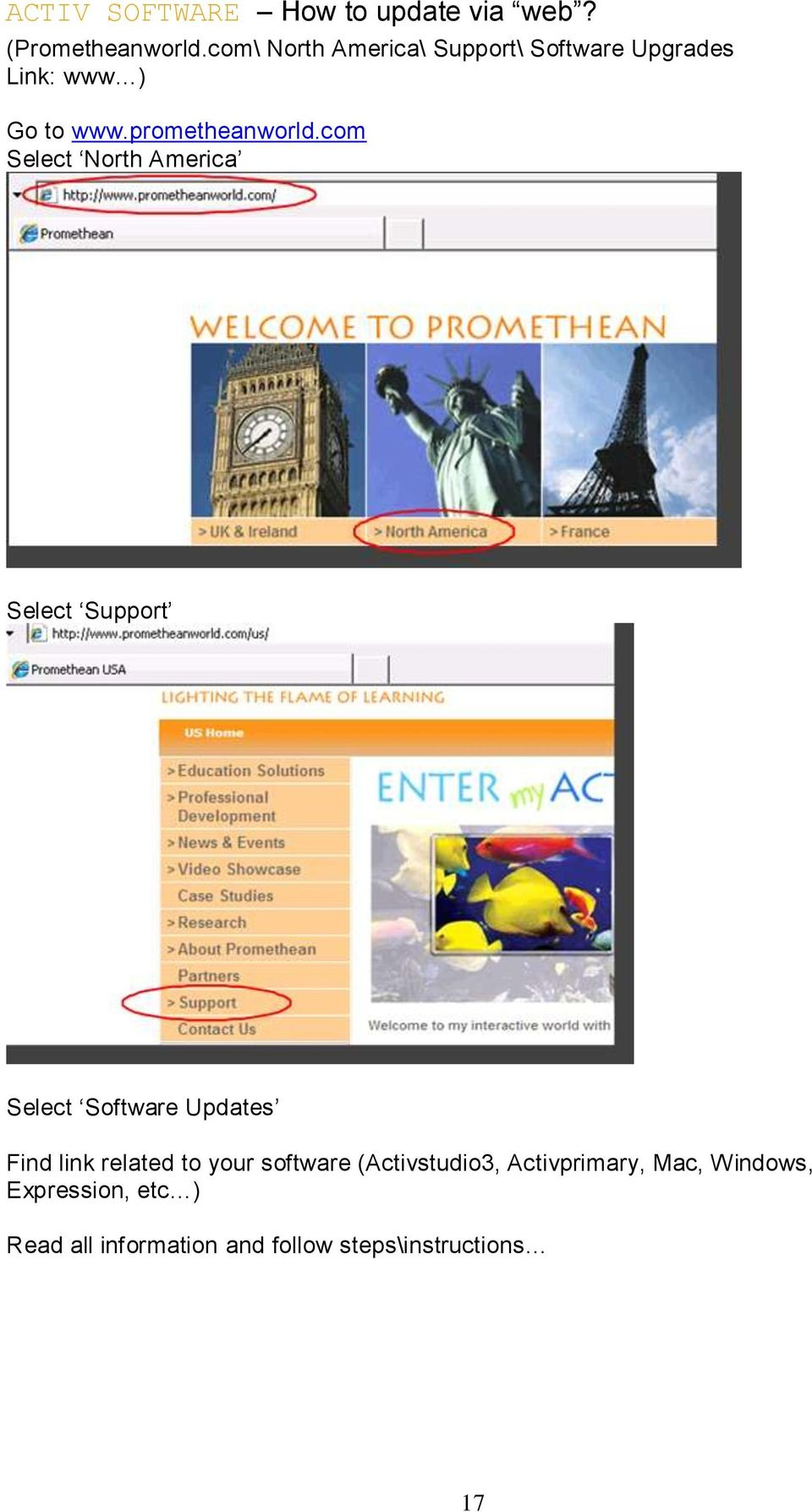 com Select North America Select Support Select Software Updates Find link related to