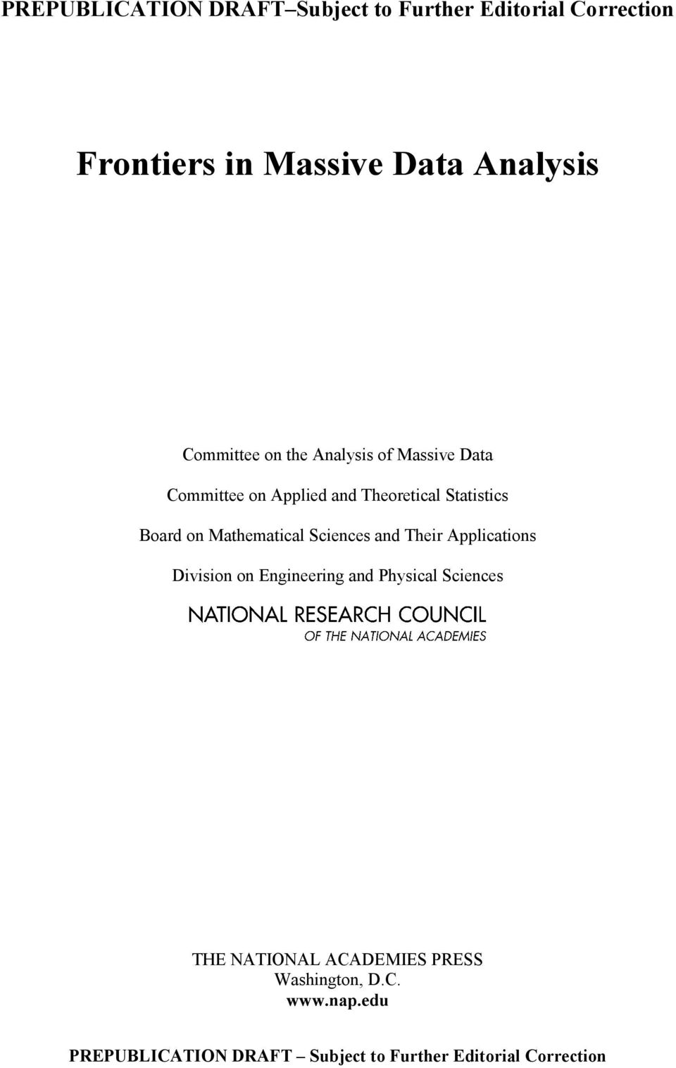 Theoretical Statistics Board on Mathematical Sciences and Their Applications Division