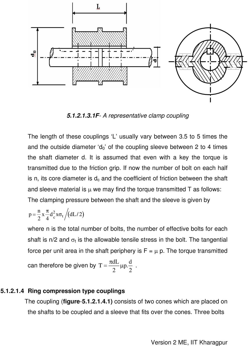 If now the number of bolt on each half is n, its core diameter is d c and the coefficient of friction between the shaft and sleeve material is μ we may find the torque transmitted T as follows: The