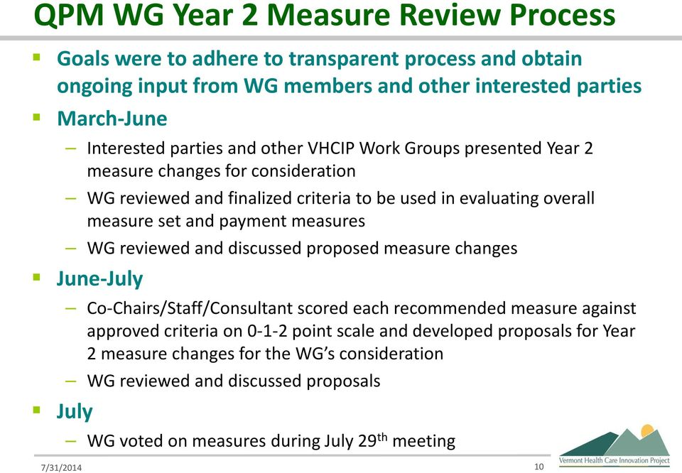 payment measures WG reviewed and discussed proposed measure changes June-July July Co-Chairs/Staff/Consultant scored each recommended measure against approved criteria on 0-1-2