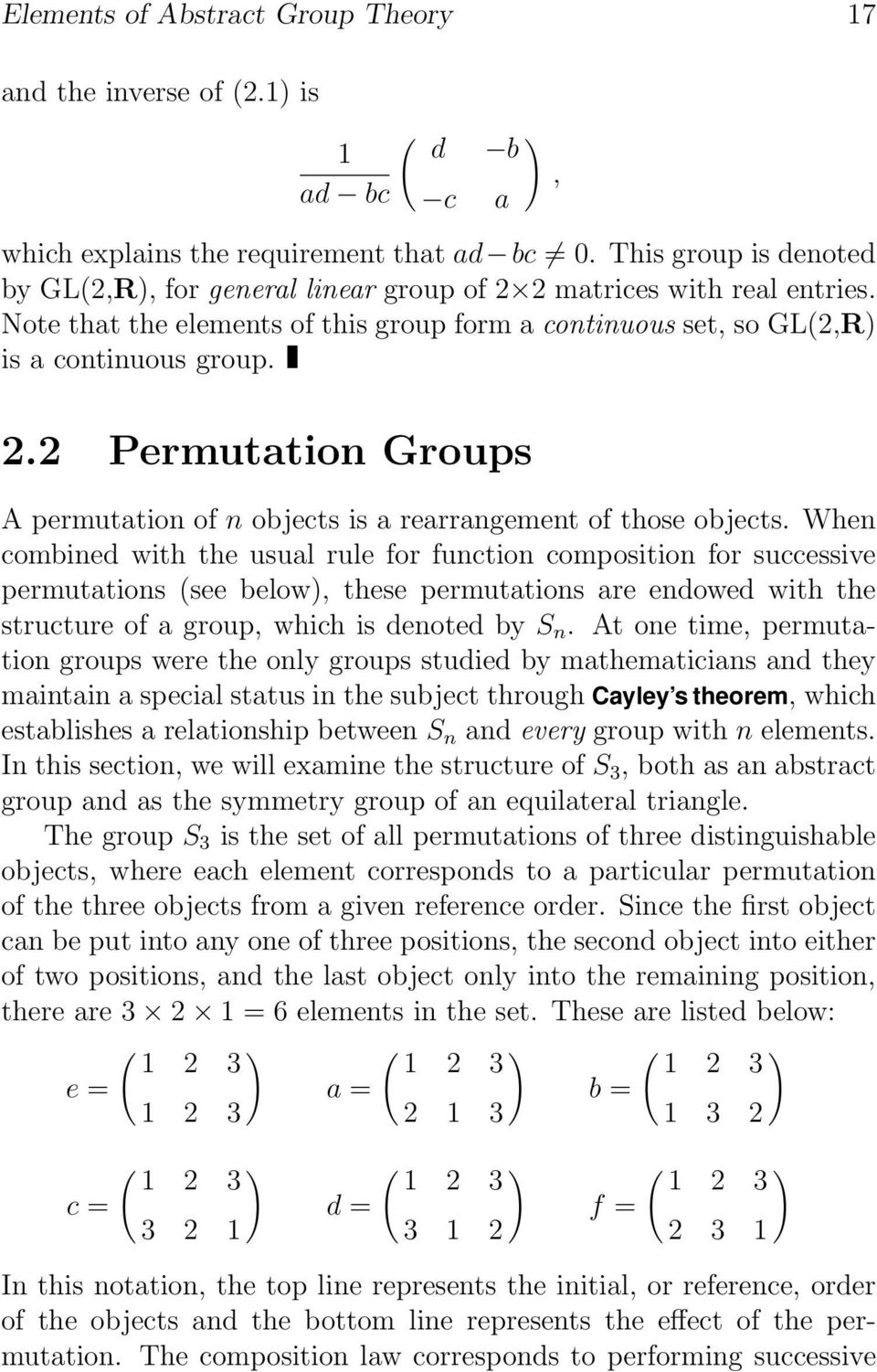 When combined with the usual rule for function composition for successive permutations (see below), these permutations are endowed with the structure of a group, which is denoted by S n.