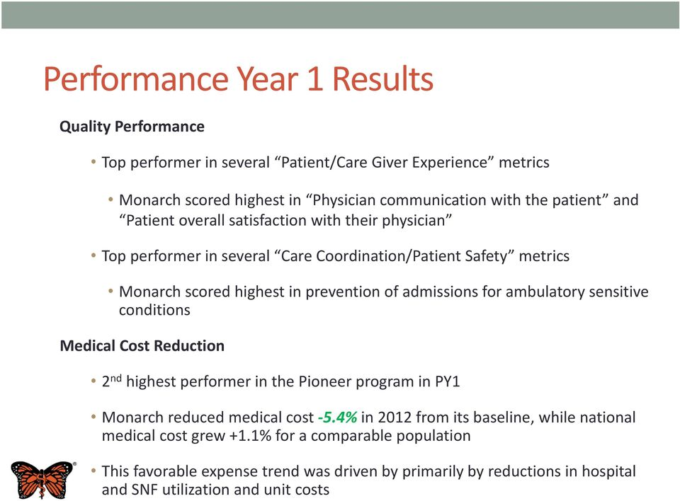 admissions for ambulatory sensitive conditions Medical Cost Reduction 2 nd highest performer in the Pioneer program in PY1 Monarch reduced medical cost -5.