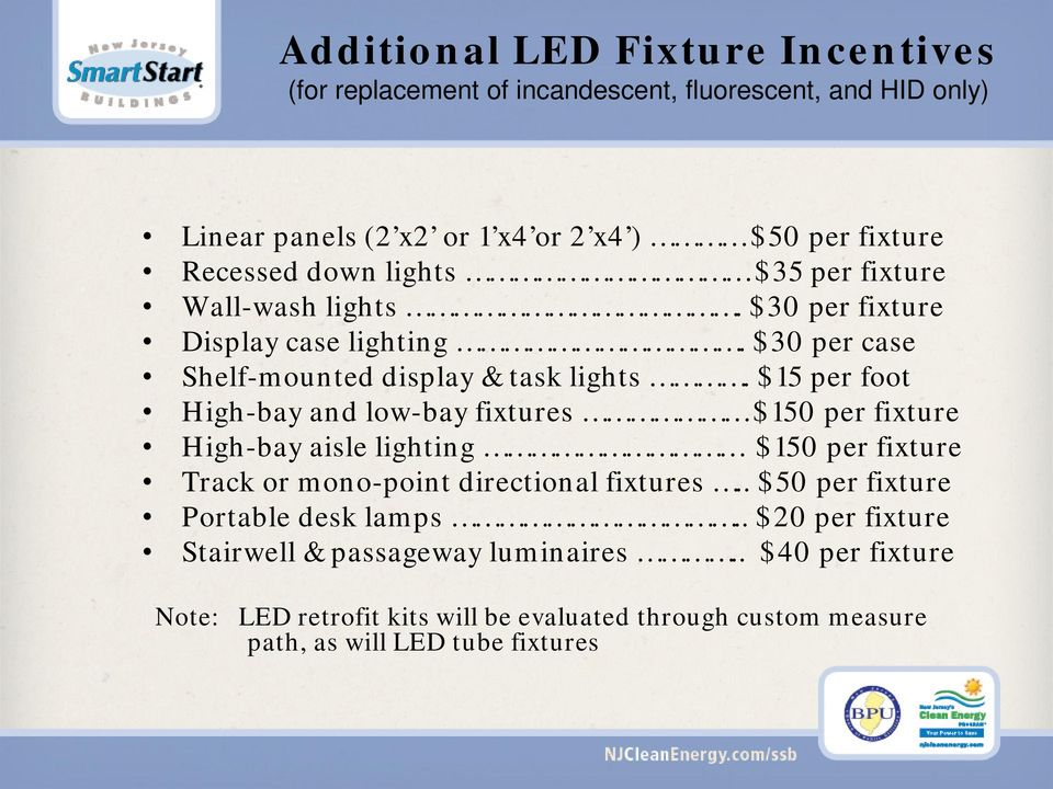 $15 per foot High-bay and low-bay fixtures $150 per fixture High-bay aisle lighting $150 per fixture Track or mono-point directional fixtures.