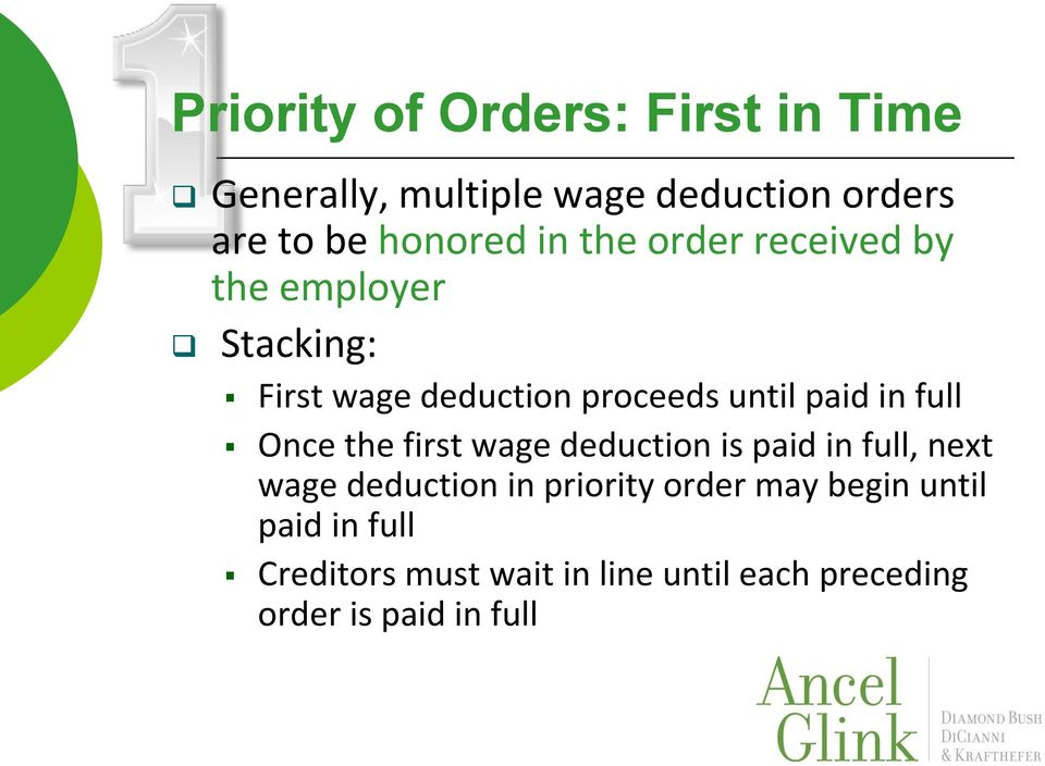 full Once the first wage deduction is paid in full, next wage deduction in priority order may