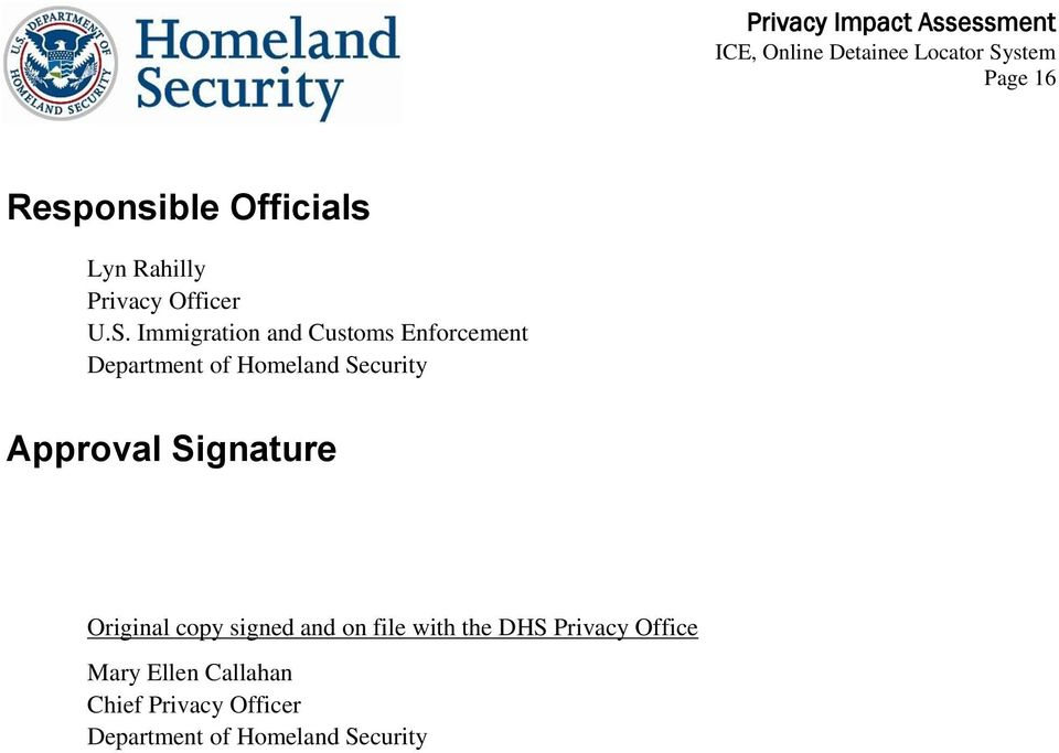 Approval Signature Original copy signed and on file with the DHS