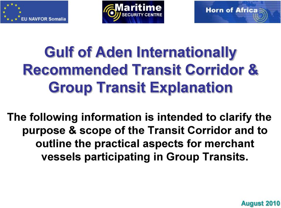 the purpose & scope of the Transit Corridor and to outline the