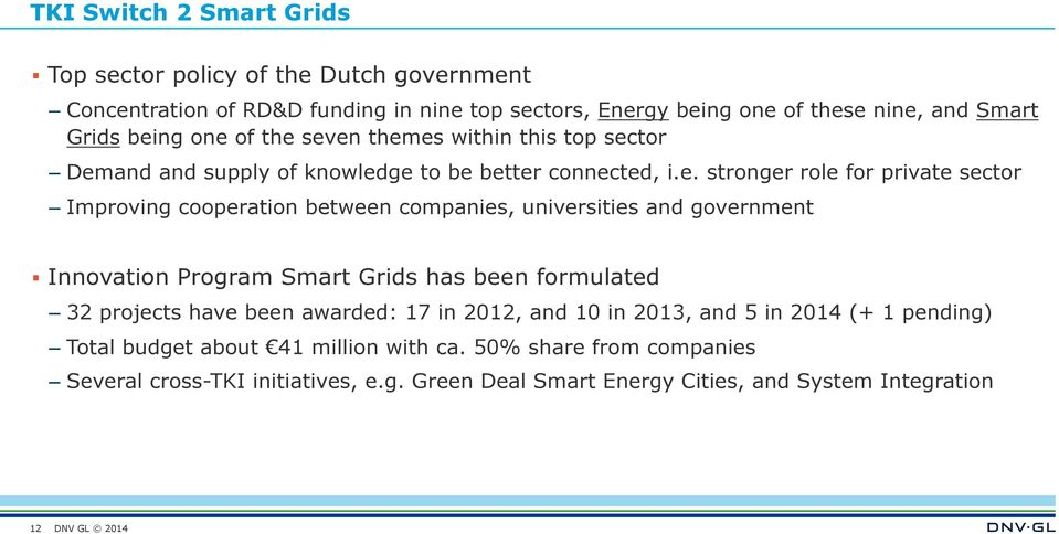 between companies, universities and government Innovation Program Smart Grids has been formulated 32 projects have been awarded: 17 in 2012, and 10 in 2013, and 5 in