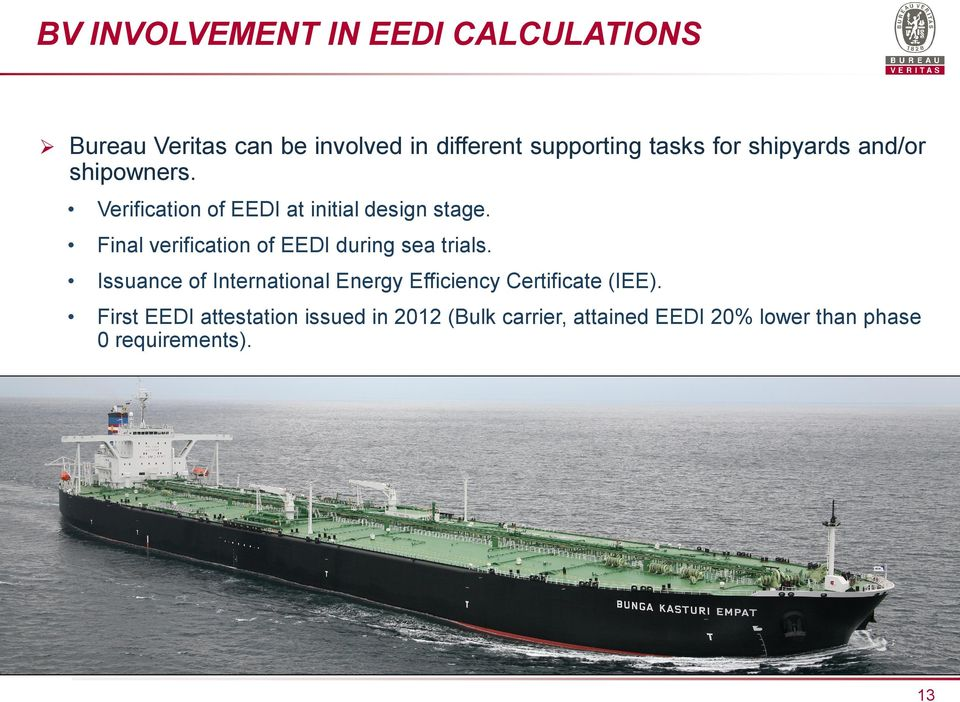 Final verification of EEDI during sea trials.