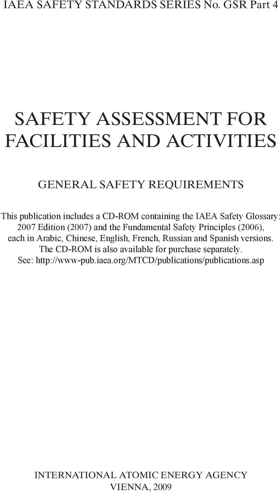 containing the IAEA Safety Glossary: 2007 Edition (2007) and the Fundamental Safety Principles (2006), each in Arabic,