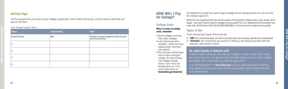 College Costs When it comes to college costs, remember Some colleges cost less than other colleges. Lots of financial aid is available there are more opportunities now than ever before!