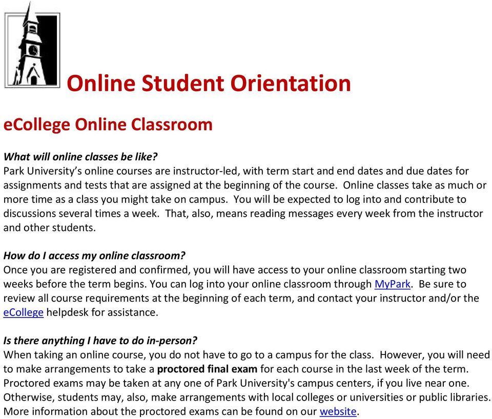 Online classes take as much or more time as a class you might take on campus. You will be expected to log into and contribute to discussions several times a week.