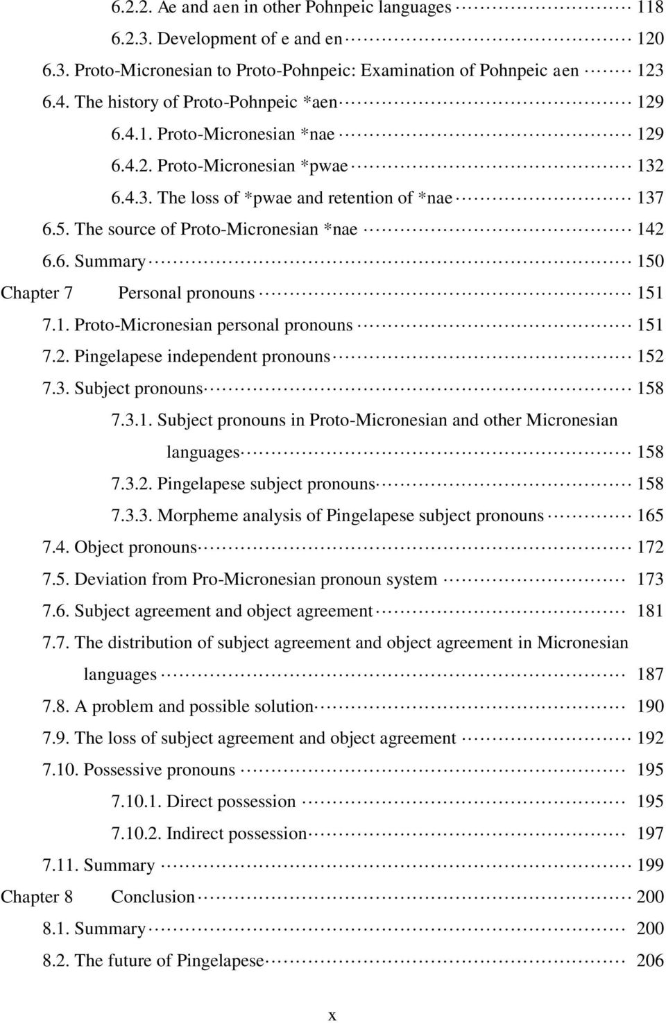 The source of Proto-Micronesian *nae 142 6.6. Summary 150 Chapter 7 Personal pronouns 151 7.1. Proto-Micronesian personal pronouns 151 7.2. Pingelapese independent pronouns 152 7.3.