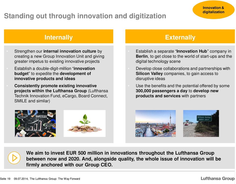 innovative projects within the Lufthansa Group (Lufthansa Technik Innovation Fund, ecargo, Board Connect, SMILE and similar) Establish a separate Innovation Hub company in Berlin, to get close to the