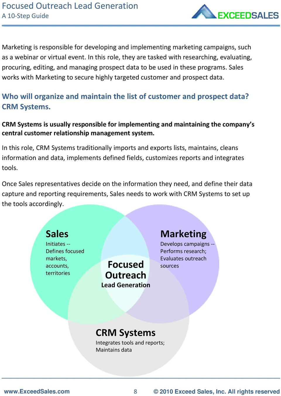 Sales works with Marketing to secure highly targeted customer and prospect data. Who will organize and maintain the list of customer and prospect data? CRM Systems.