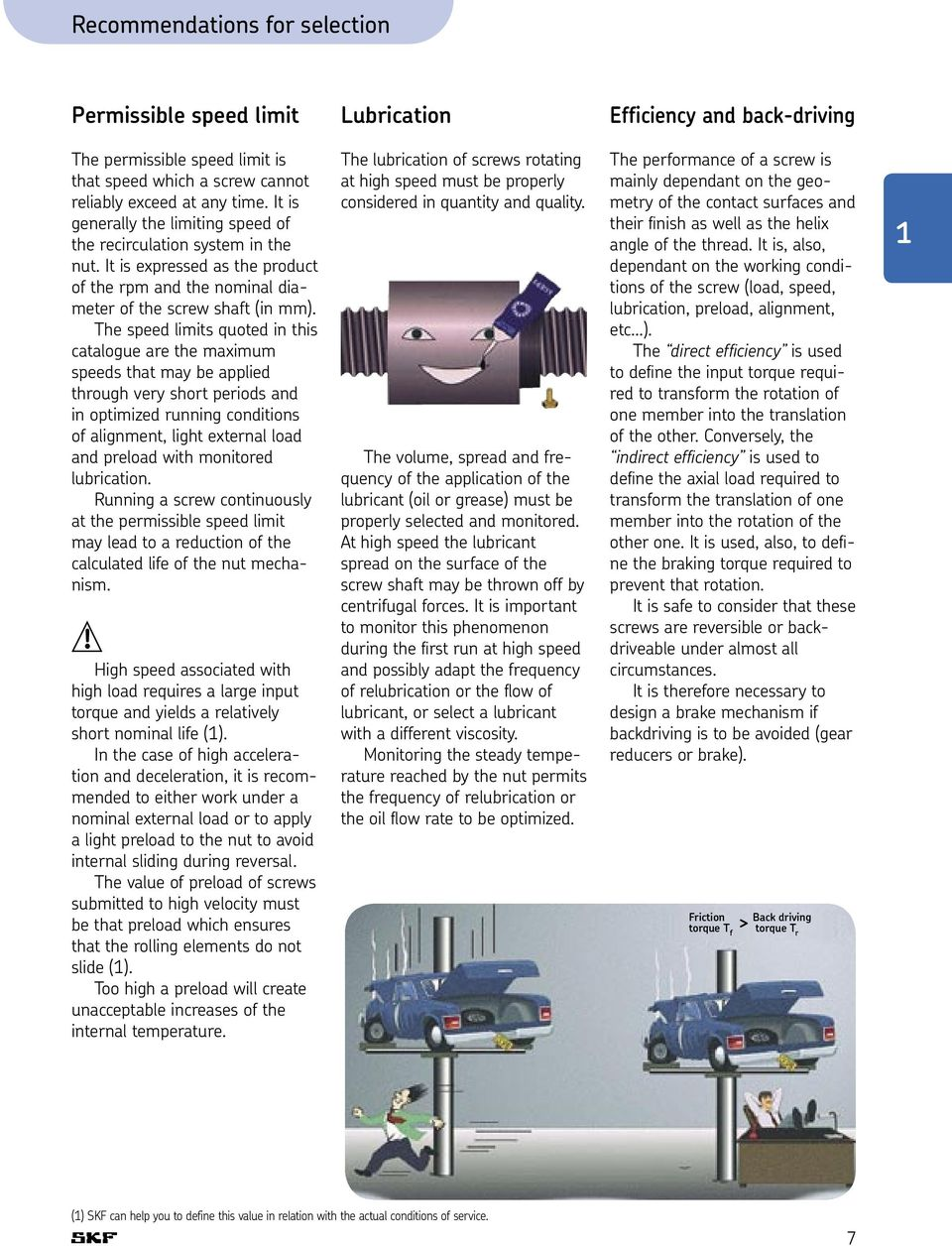 The speed limits quoted in this catalogue are the maximum speeds that may be applied through very short periods and in optimized running conditions of alignment, light external load and preload with