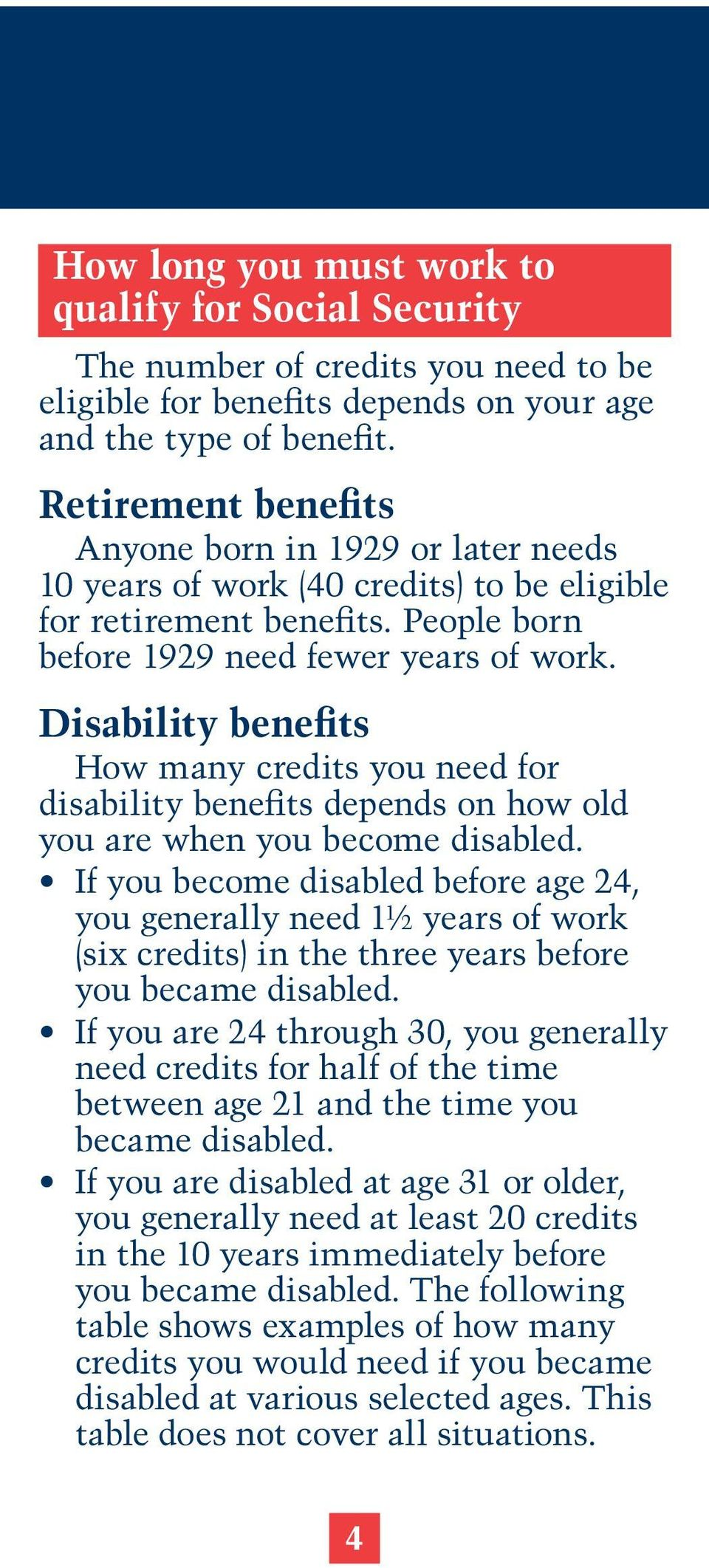 Disability benefits How many credits you need for disability benefits depends on how old you are when you become disabled.