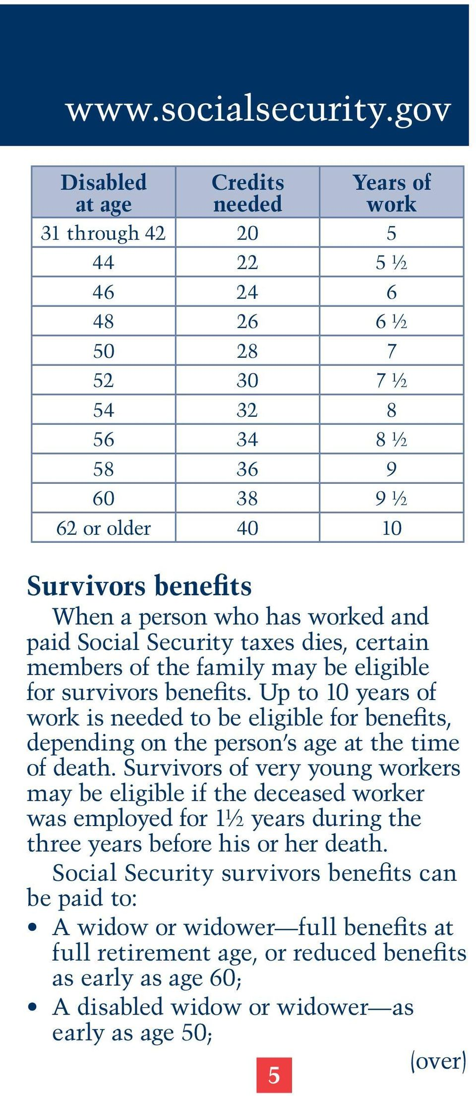 Up to 10 years of work is needed to be eligible for benefits, depending on the person s age at the time of death.