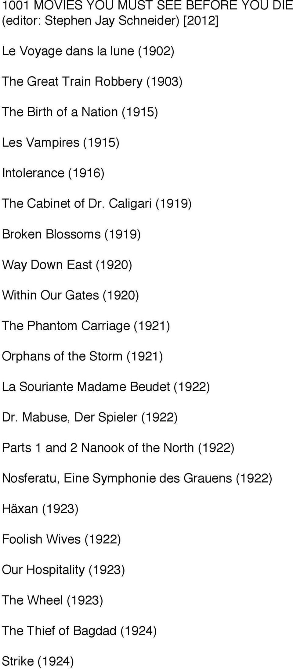 Caligari (1919) Broken Blossoms (1919) Way Down East (1920) Within Our Gates (1920) The Phantom Carriage (1921) Orphans of the Storm (1921) La Souriante