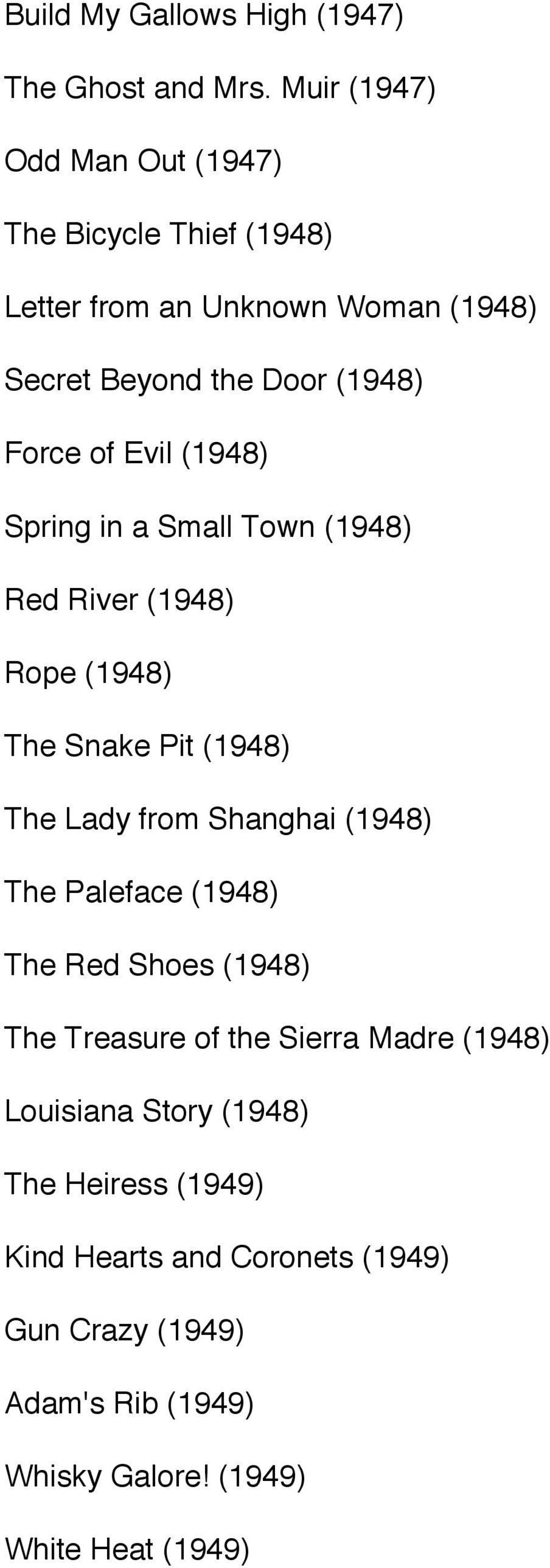 Evil (1948) Spring in a Small Town (1948) Red River (1948) Rope (1948) The Snake Pit (1948) The Lady from Shanghai (1948) The