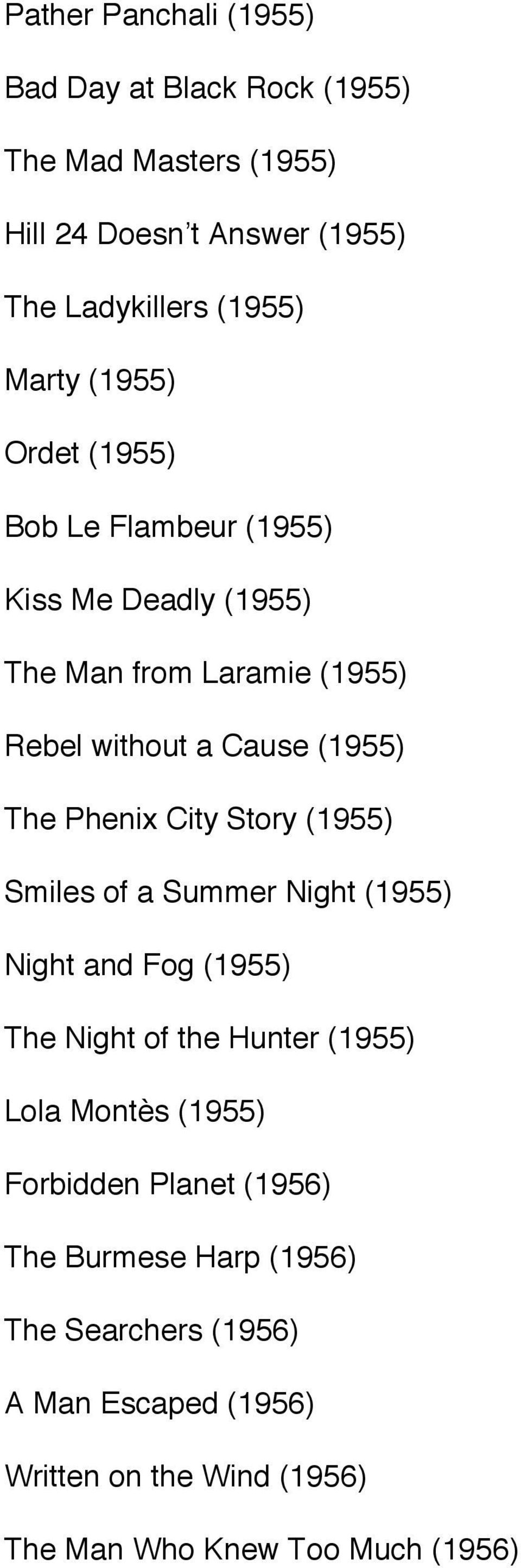 City Story (1955) Smiles of a Summer Night (1955) Night and Fog (1955) The Night of the Hunter (1955) Lola Montès (1955) Forbidden