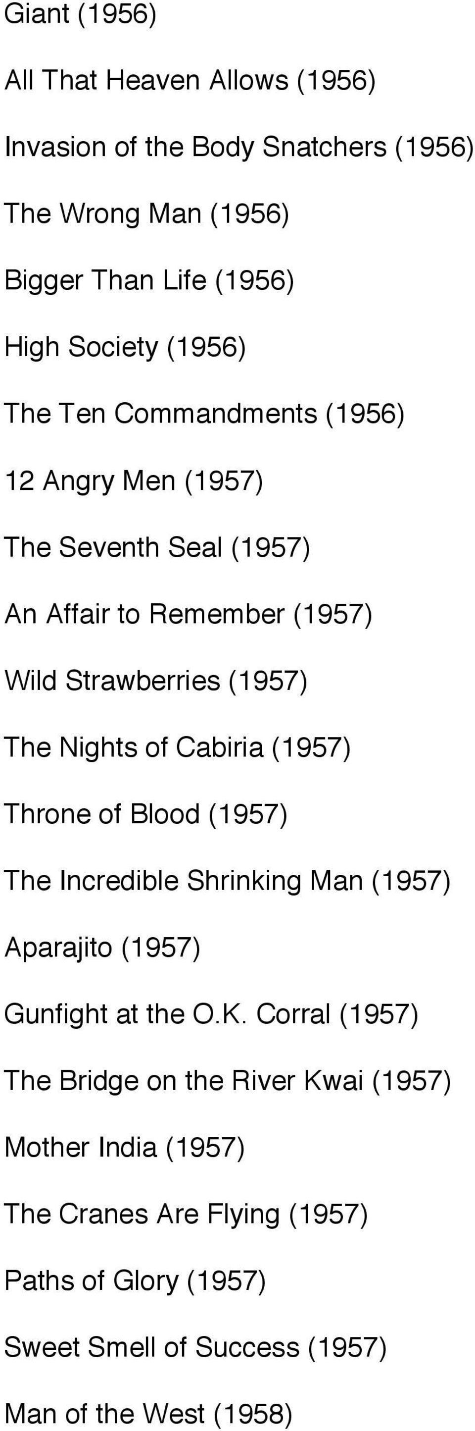 Nights of Cabiria (1957) Throne of Blood (1957) The Incredible Shrinking Man (1957) Aparajito (1957) Gunfight at the O.K.