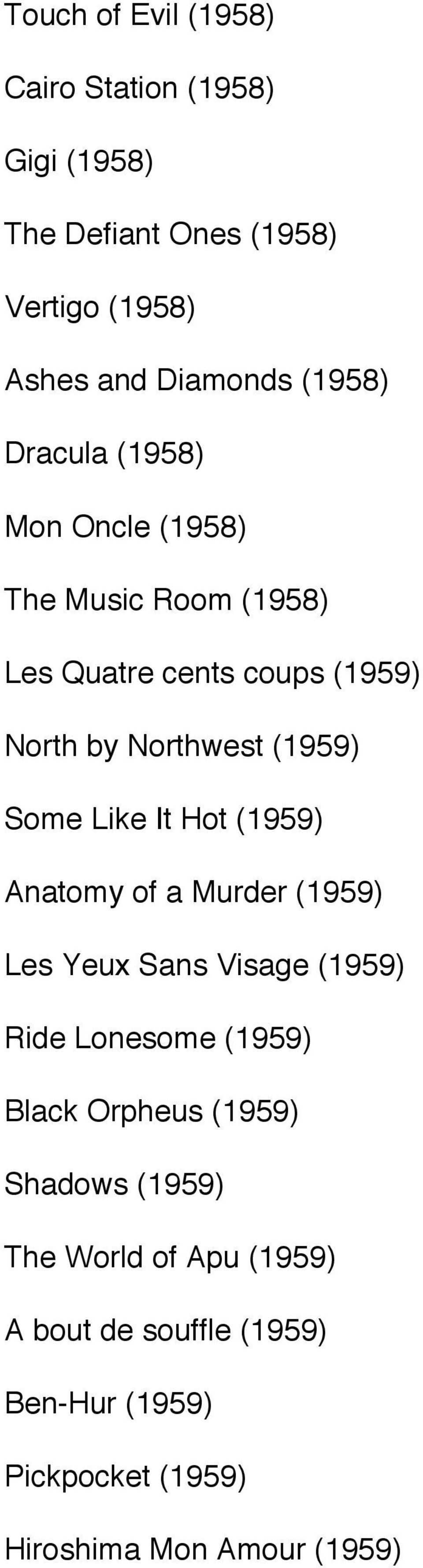 Like It Hot (1959) Anatomy of a Murder (1959) Les Yeux Sans Visage (1959) Ride Lonesome (1959) Black Orpheus (1959)
