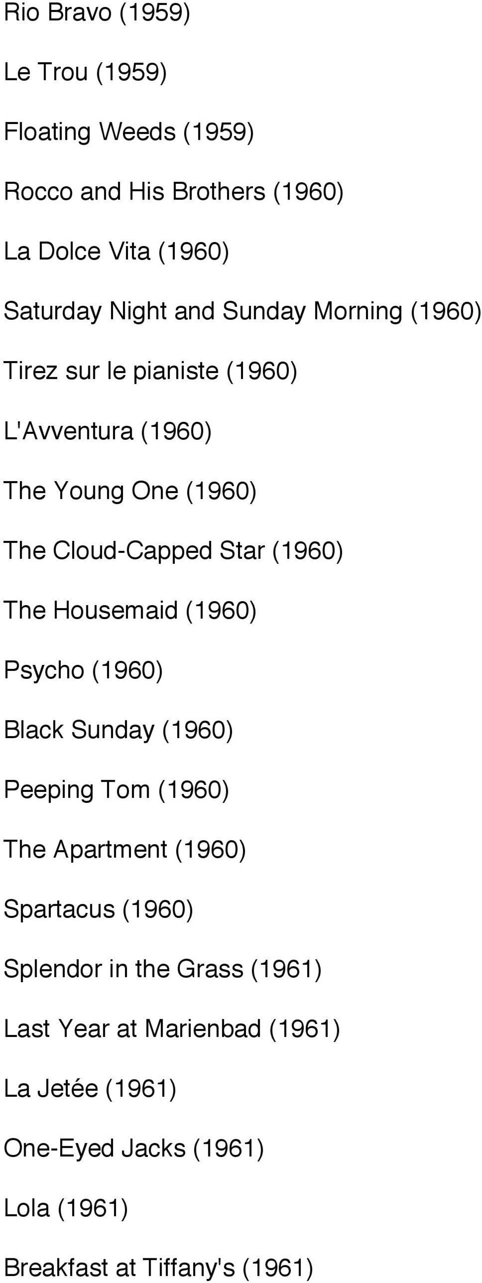 Housemaid (1960) Psycho (1960) Black Sunday (1960) Peeping Tom (1960) The Apartment (1960) Spartacus (1960) Splendor in the