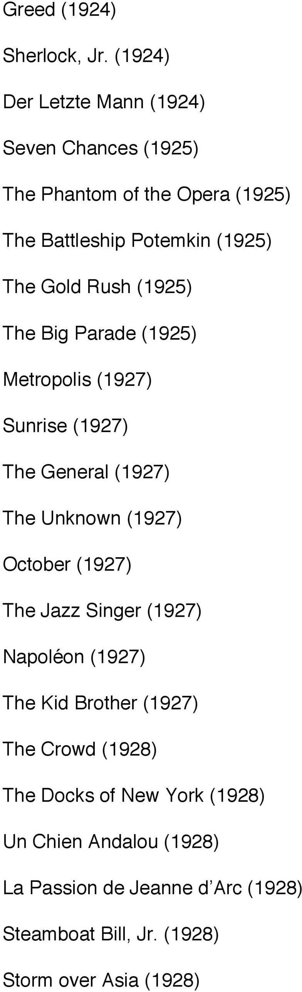 Gold Rush (1925) The Big Parade (1925) Metropolis (1927) Sunrise (1927) The General (1927) The Unknown (1927) October
