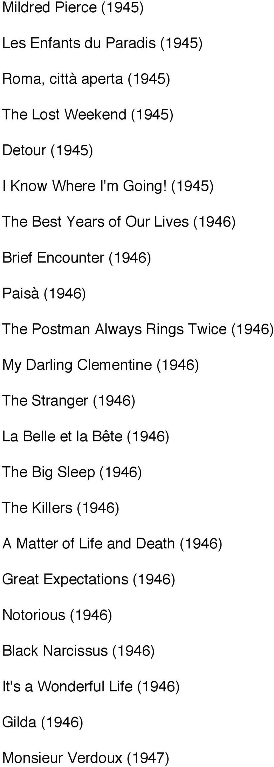 (1945) The Best Years of Our Lives (1946) Brief Encounter (1946) Paisà (1946) The Postman Always Rings Twice (1946) My Darling