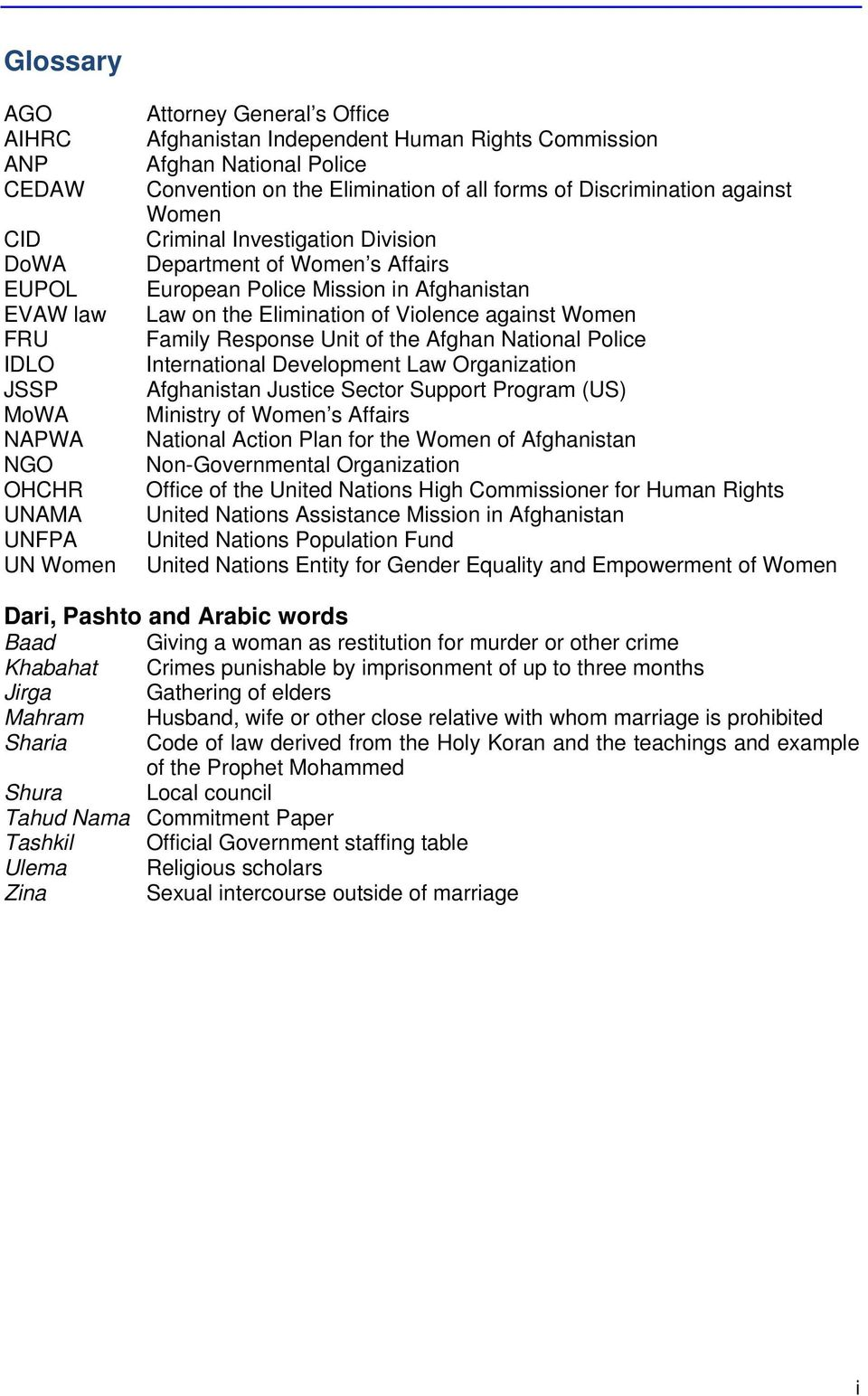 Elimination of Violence against Women Family Response Unit of the Afghan National Police International Development Law Organization Afghanistan Justice Sector Support Program (US) Ministry of Women s