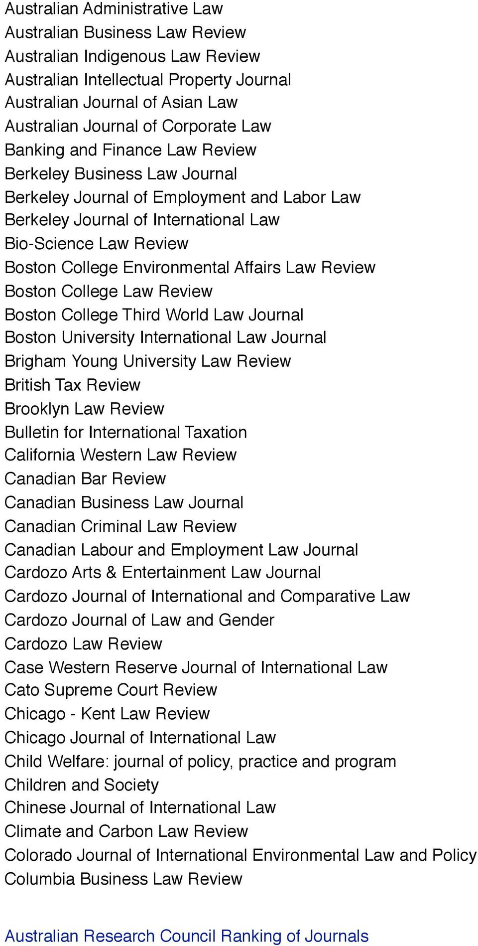 Affairs Law Review Boston College Law Review Boston College Third World Law Journal Boston University International Law Journal Brigham Young University Law Review British Tax Review Brooklyn Law
