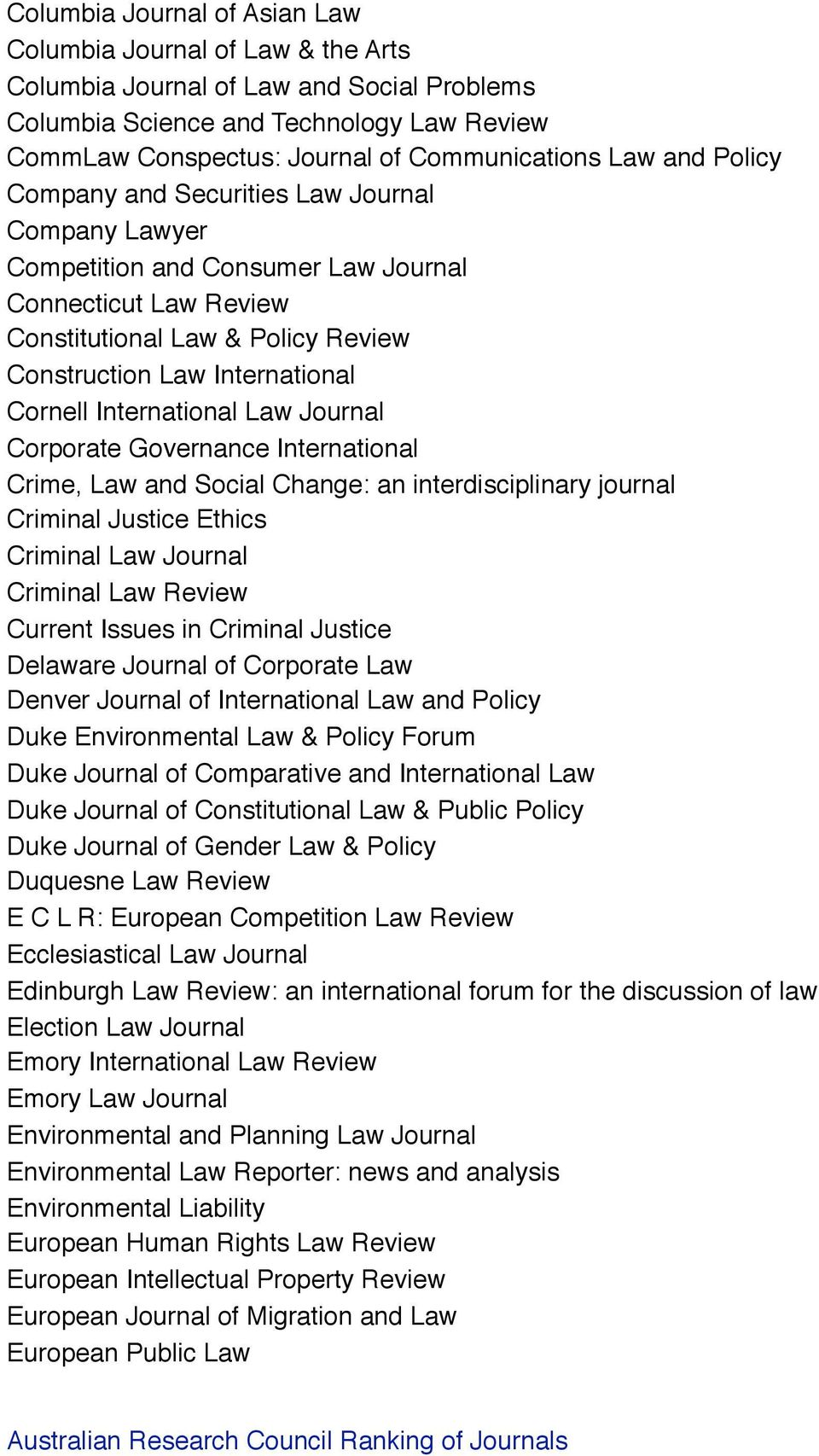 International Law Journal Corporate Governance International Crime, Law and Social Change: an interdisciplinary journal Criminal Justice Ethics Criminal Law Journal Criminal Law Review Current Issues