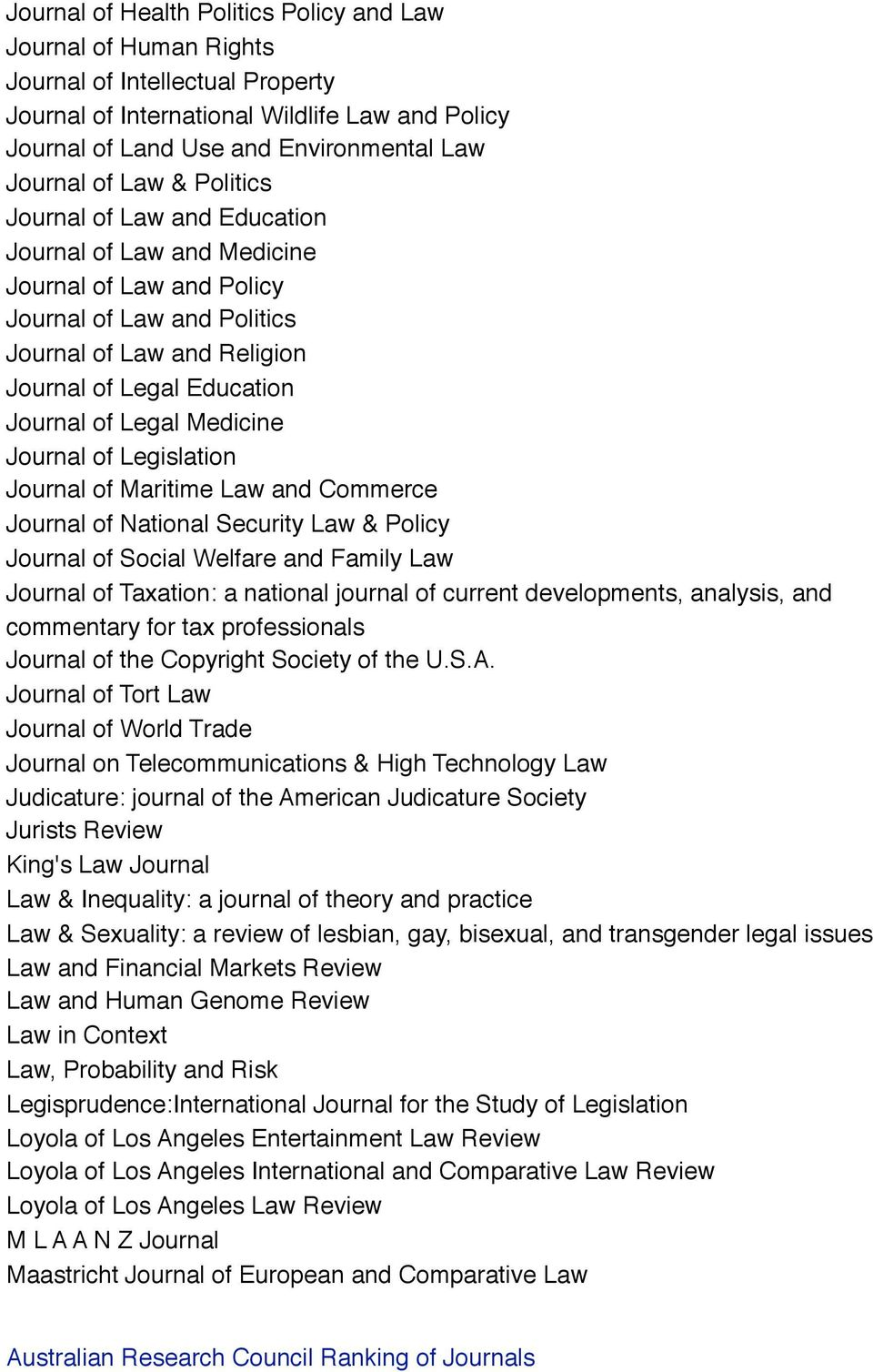 Legal Medicine Journal of Legislation Journal of Maritime Law and Commerce Journal of National Security Law & Policy Journal of Social Welfare and Family Law Journal of Taxation: a national journal