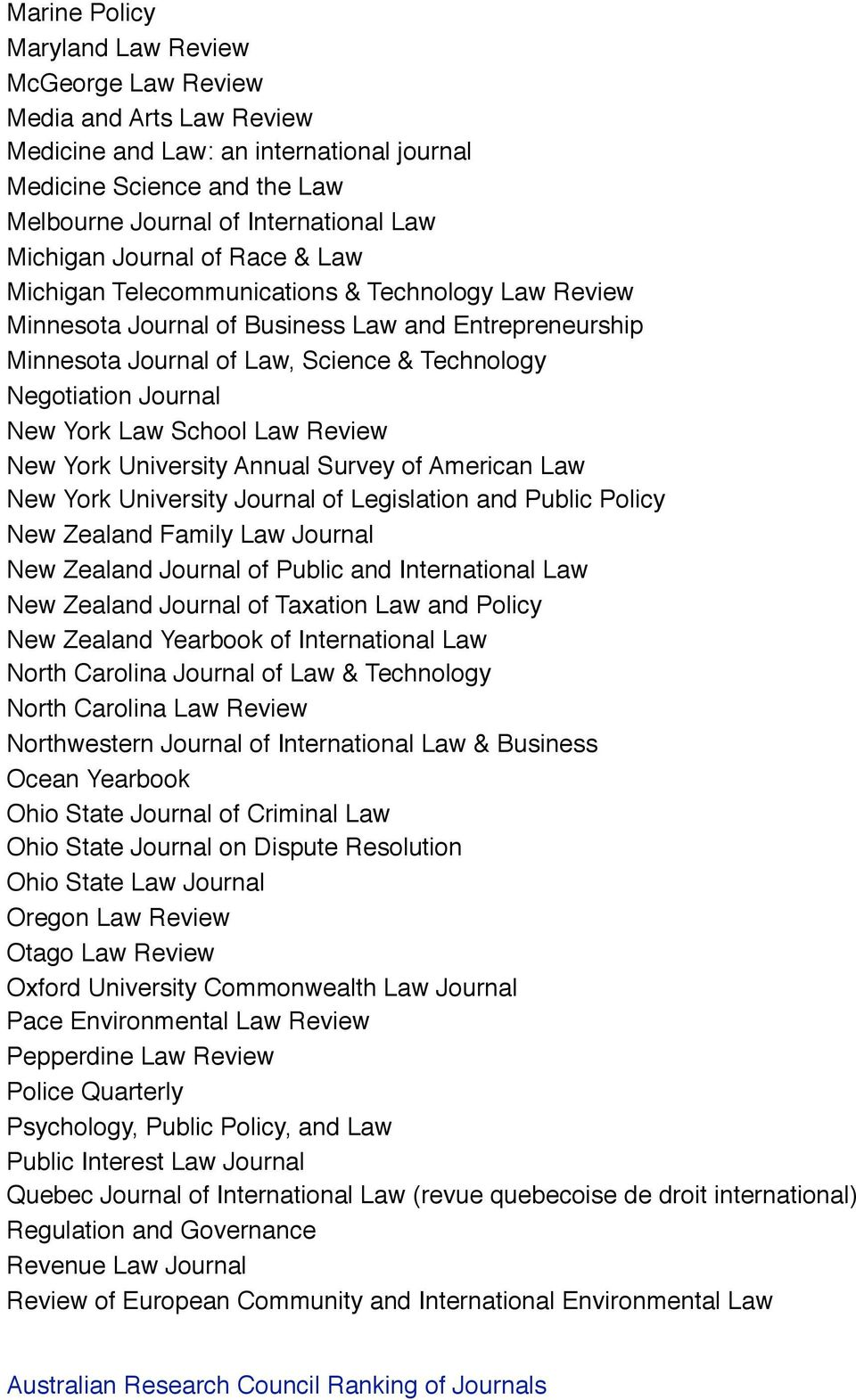 York Law School Law Review New York University Annual Survey of American Law New York University Journal of Legislation and Public Policy New Zealand Family Law Journal New Zealand Journal of Public
