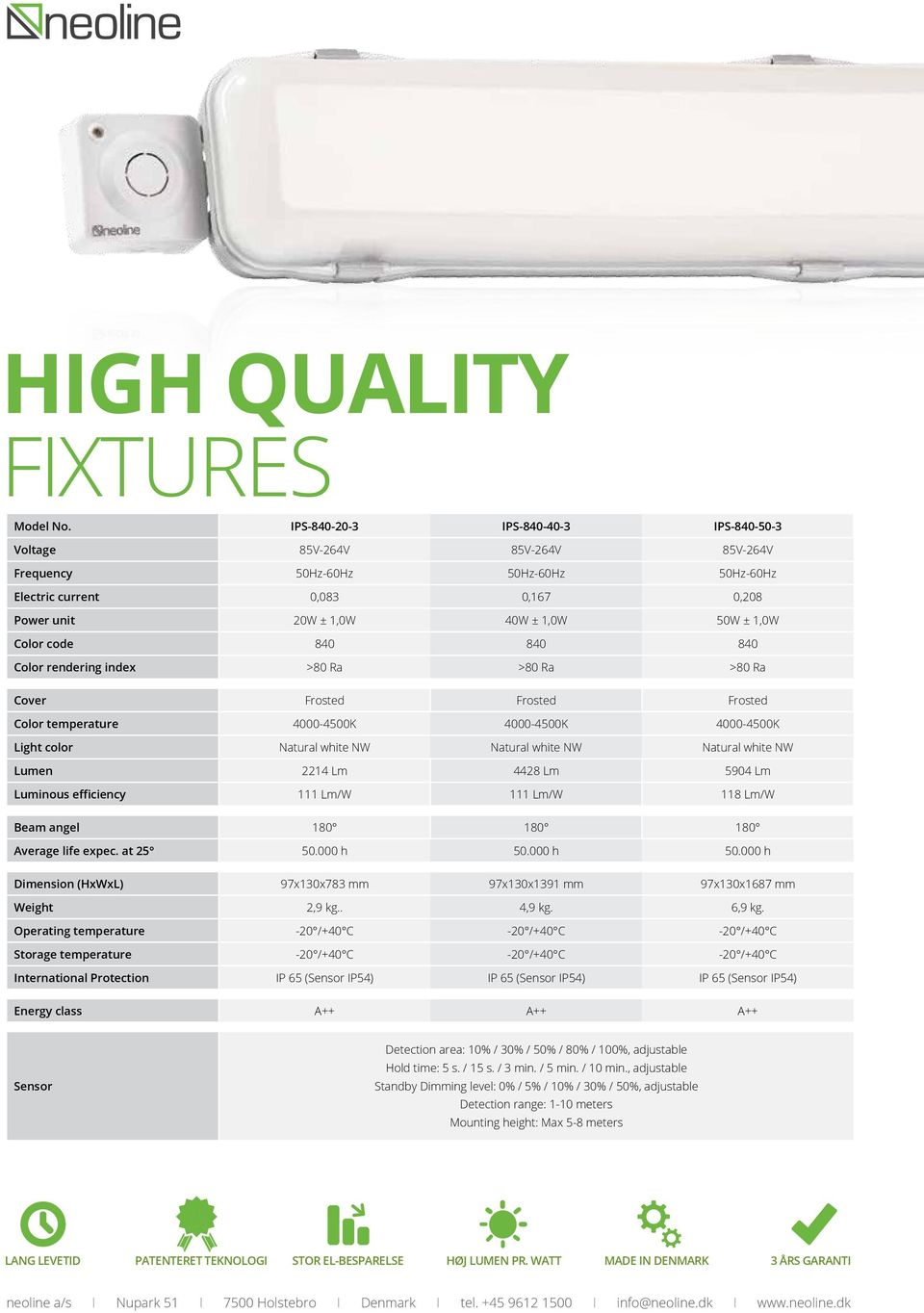 >80 Ra >80 Ra >80 Ra Cover Frosted Frosted Frosted Color temperature 4000-4500K 4000-4500K 4000-4500K Light color Natural white NW Natural white NW Natural white NW Lumen 2214 Lm 4428 Lm 5904 Lm