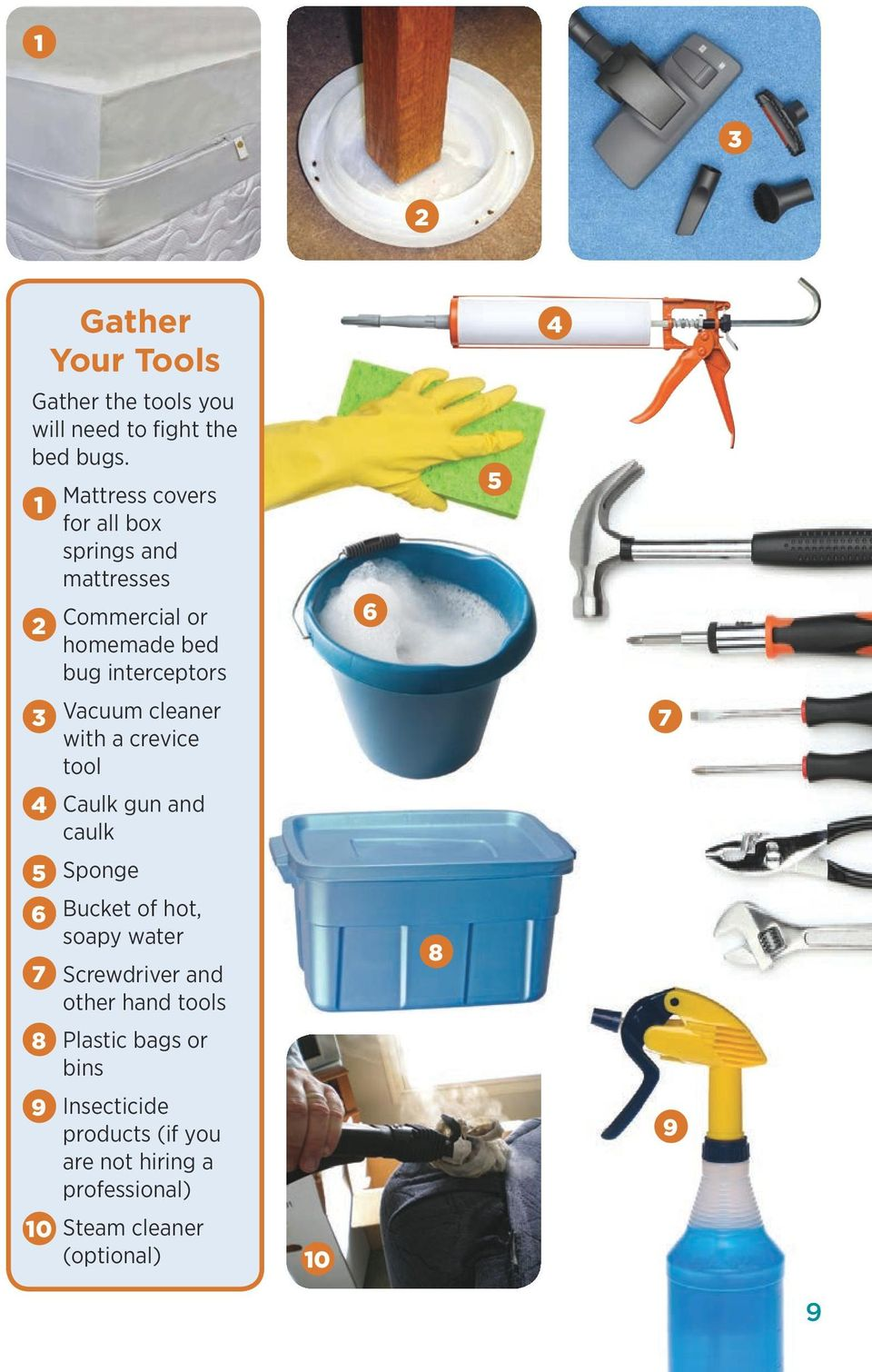 cleaner with a crevice tool 4 Caulk gun and caulk 5 Sponge 6 Bucket of hot, soapy water 7 Screwdriver and