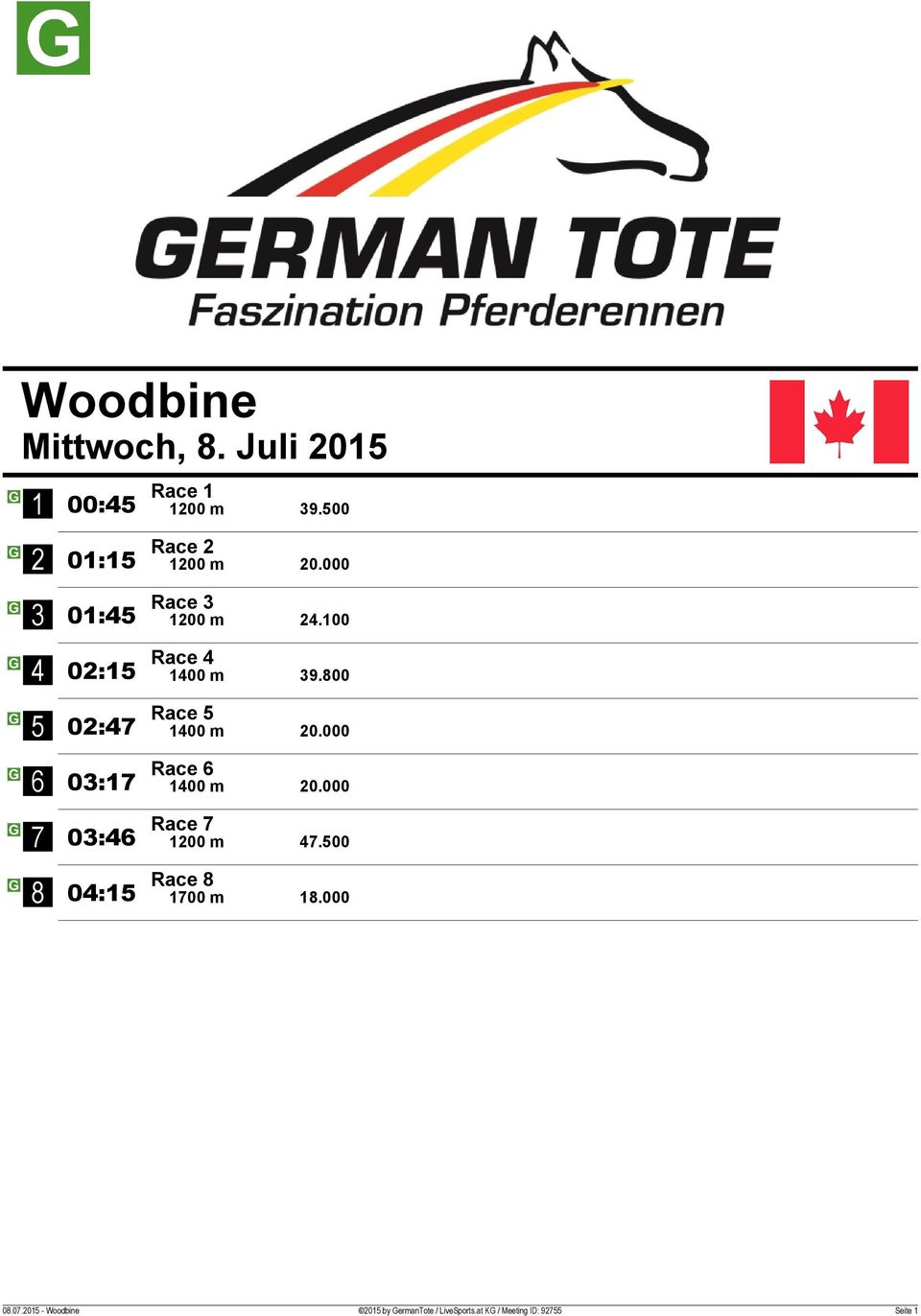 000 0: Race 00 m 0.000 0: Race 00 m.00 0: Race 00 m.000 0.0.0 - Woodbine 0 by GermanTote / LiveSports.