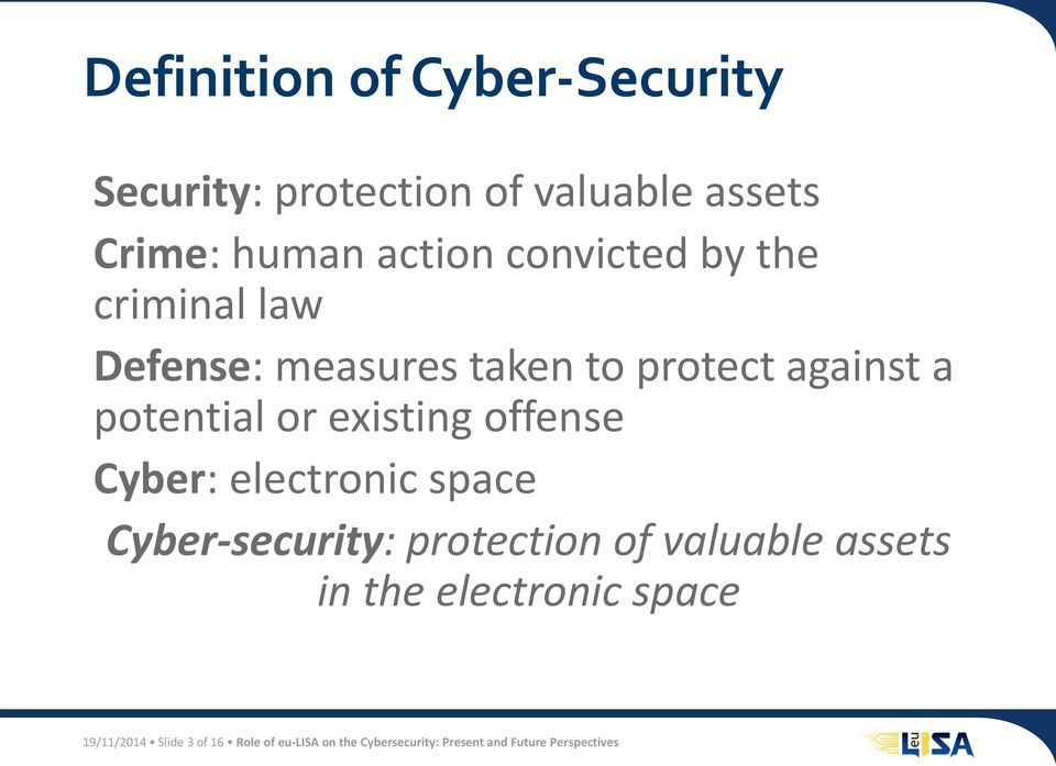 existing offense Cyber: electronic space Cyber-security: protection of valuable assets in the