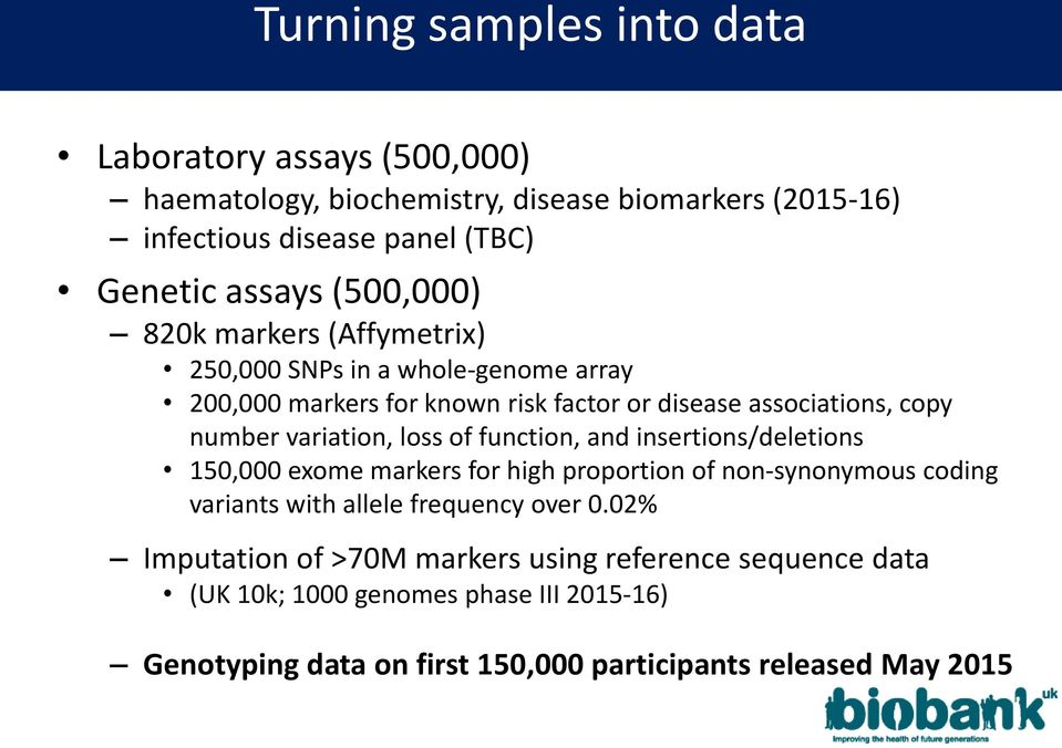 variation, loss of function, and insertions/deletions 150,000 exome markers for high proportion of non-synonymous coding variants with allele frequency over