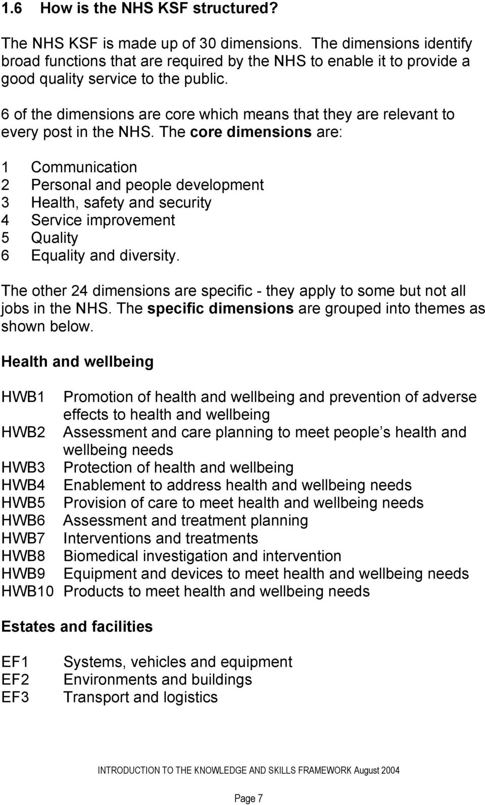 6 of the dimensions are core which means that they are relevant to every post in the NHS.