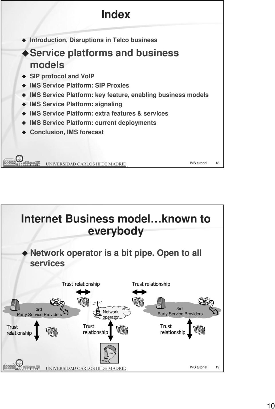 deployments Conclusion, IMS forecast IMS tutorial 18 Internet Business model known to everybody Network operator is a bit pipe.