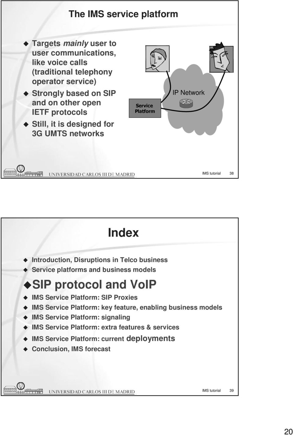 business Service platforms and business models SIP protocol and VoIP IMS Service Platform: SIP Proxies IMS Service Platform: key feature, enabling business