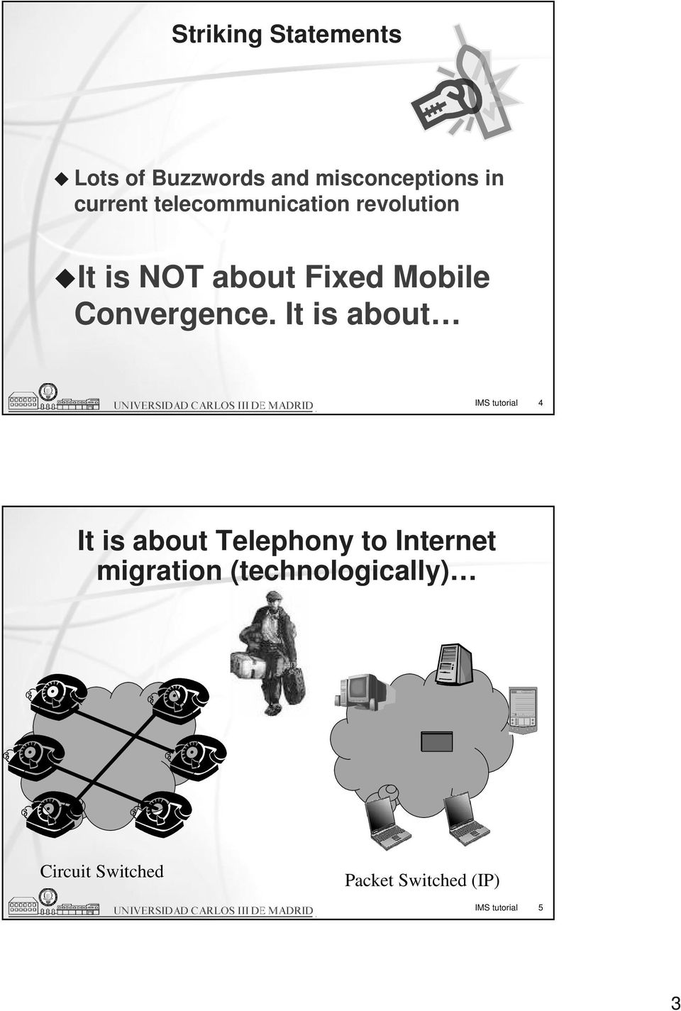 It is about IMS tutorial 4 It is about Telephony to Internet migration