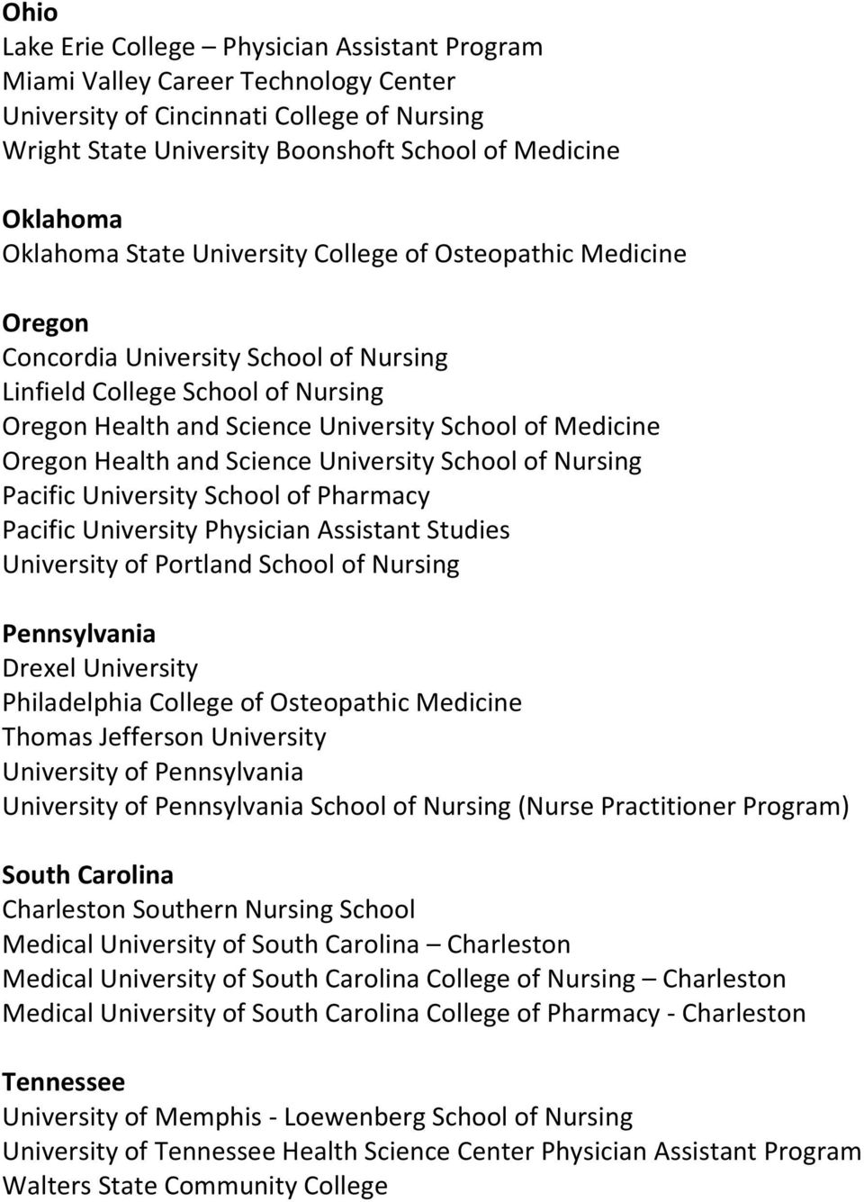 Oregon Health and Science University School of Nursing Pacific University School of Pharmacy Pacific University Physician Assistant Studies University of Portland School of Nursing Pennsylvania