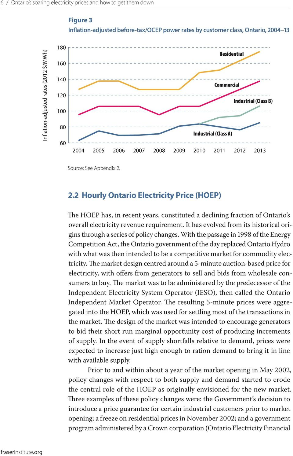 Industrial (Class A) 2010 2011 2012 2013 Source: See Appendix 2. 2.2 Hourly Ontario Electricity Price (HOEP) The HOEP has, in recent years, constituted a declining fraction of Ontario s overall electricity revenue requirement.