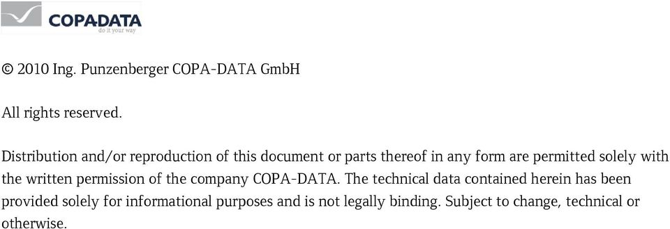 solely with the written permission of the company COPA-DATA.