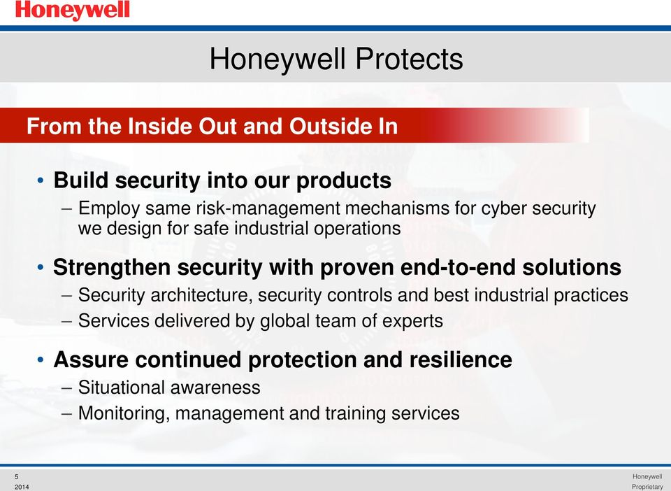 solutions Security architecture, security controls and best industrial practices Services delivered by global