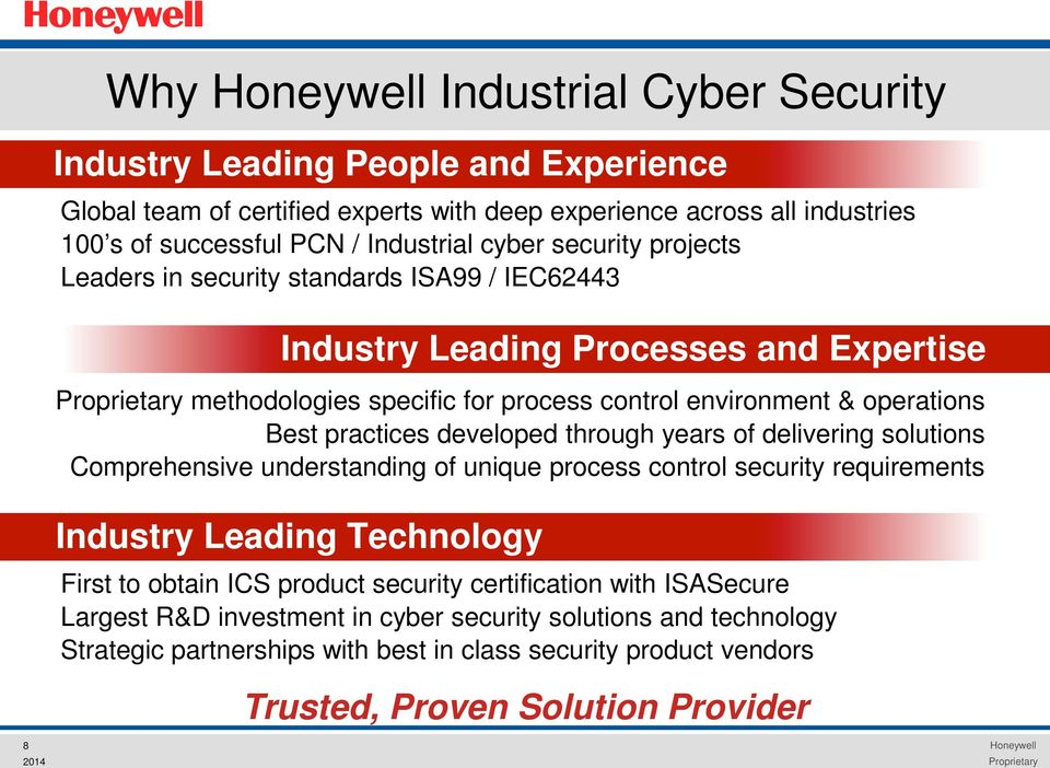 developed through years of delivering solutions Comprehensive understanding of unique process control security requirements Industry Leading Technology First to obtain ICS product security