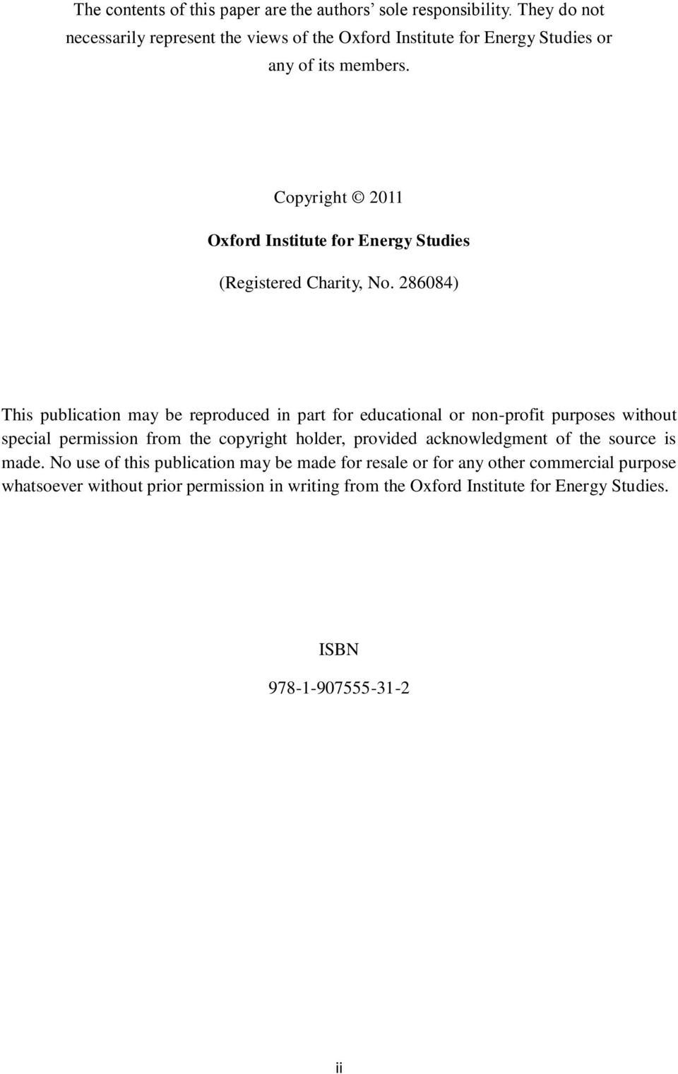 Copyright 211 Oxford Institute for Energy Studies (Registered Charity, No.