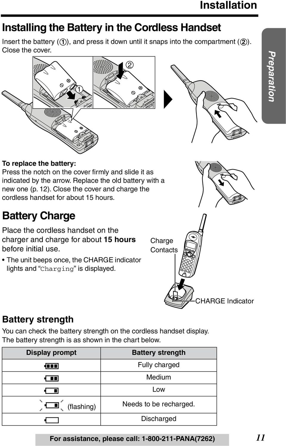 Close the cover and charge the cordless handset for about 15 hours. Battery Charge Place the cordless handset on the charger and charge for about 15 hours before initial use.